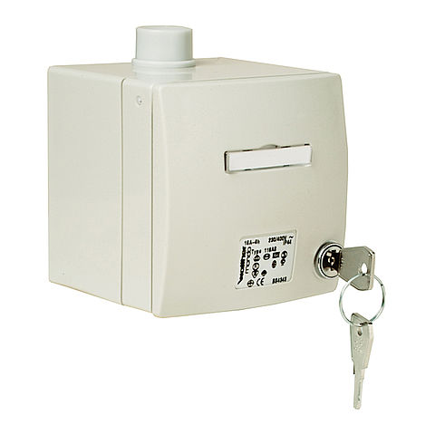 MONDO wall socket surface-mounted 16A 4P 6h with inscription label, lockable, in light grey