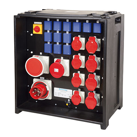 Socket distributor In:125A with eight CEE outlets 16-125A, 12 isolated ground receptacles, phase and sequence display, main switch and panel appliance inlet 125A