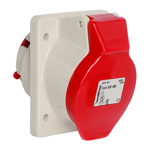 Panel socket angled 16A 4P 6h with flange 75x75mm