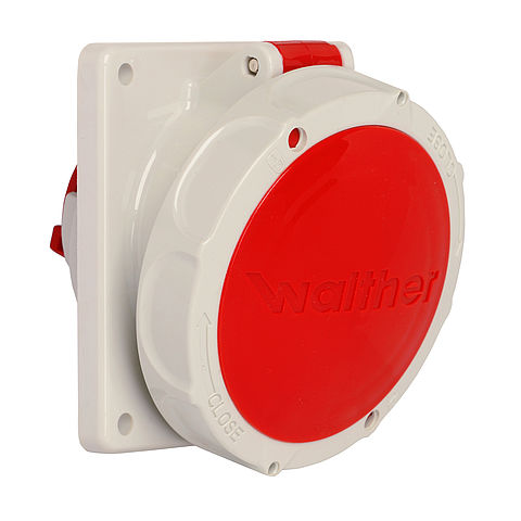 Waterproof panel socket angled 16A 5P 6h with flange 100x92mm