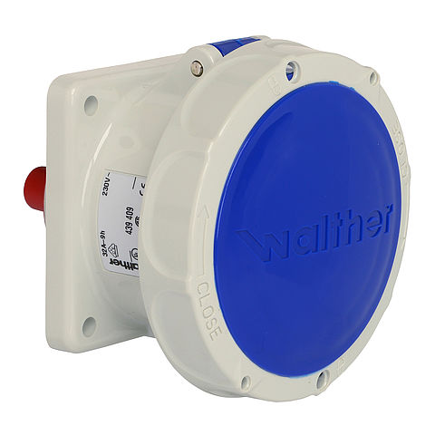 Waterproof panel socket straight 32A 4P 9h with flange 75x75mm